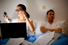This Couple Is Fighting Because She`s Working Too Much Stock Photography