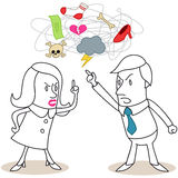 Couple fighting. Vector illustration of monochrome cartoon characters: Man and woman having a heated discussion about different issues Stock Photography
