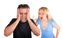 Couple Fighting and Yelling on White Stock Photos