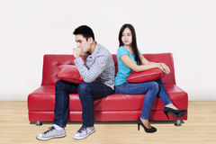 Couple in fights at home Royalty Free Stock Photos