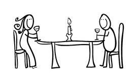 Couple figures having a dinner Royalty Free Stock Images