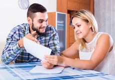 Couple filling forms for bank Stock Photos