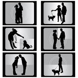 Couple with film. Vector illustration Royalty Free Stock Image