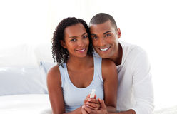 Couple finding out results of a pregnancy test stock photo