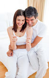 Couple finding out results of a pregnancy test Royalty Free Stock Photography