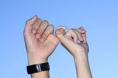Couple Finger coordination together. The couple Finger coordination together Royalty Free Stock Image
