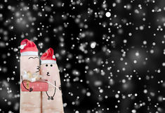 Couple finger and gift on christmas holiday abstract background Stock Images