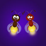 Couple of fireflies. Illustration of fireflies in the night Royalty Free Stock Images