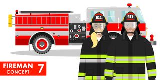 Firefighter concept. Detailed illustration of fireman and firewoman in uniform standing together near fire truck in flat. Couple of fireman and firewoman in Stock Photography