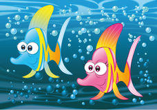 Couple of fish in the ocean. Vector and cartoon characters Stock Photo
