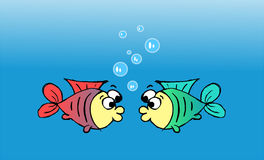 Couple fish. Red and green fish emitting bubbles in the water Royalty Free Stock Image