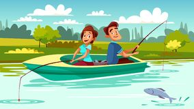 Couple fishing vector cartoon illustration royalty free illustration