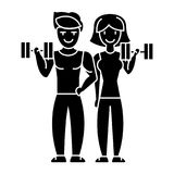 Couple in fitness gym icon, vector illustration, sign on isolated background vector illustration