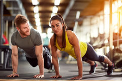 Couple on fitness training together stock photography