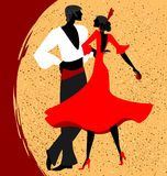 Couple of flamenco dancers. Abstract red-beige background and couple of Spanish dancers Stock Photography