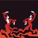 Couple of Flamenco Dancers in expressive impressive pose. Minimalistic laconic. Couple of Flamenco Dancer in expressive impressive pose. Minimalistic graphic in Stock Photos