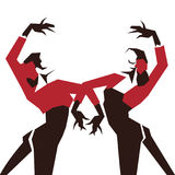Couple of Flamenco Dancers in expressive impressive pose. Minimalistic laconic. Couple of Flamenco Dancer in expressive impressive pose. Minimalistic graphic in Royalty Free Stock Photography