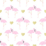 Couple flamingos and glitter hearts. Couple flamingos and gold  glitter hearts seamless background Stock Photography