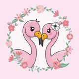 Couple of flamingos in love inside flower frame. Valentines card stock illustration