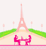 Couple flirt and drink champagne in Paris Royalty Free Stock Photo