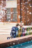 Couple flirting in the city center Stock Image