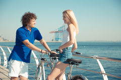 Couple flirting outdoors Royalty Free Stock Photography