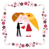 Couple with floral border Stock Image