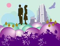 Couple in a floral cityscape Stock Images