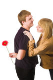 Couple with flower Royalty Free Stock Image