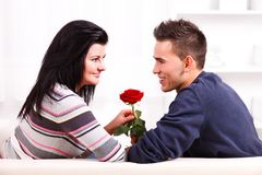 Couple with flower Stock Photos