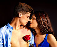 Couple with flower. Beauty couple with rose flower Stock Photography