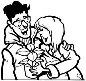 Couple with flower cartoon Vector Clipart Stock Image