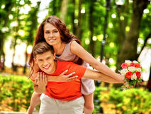Couple with flower at park Stock Photos