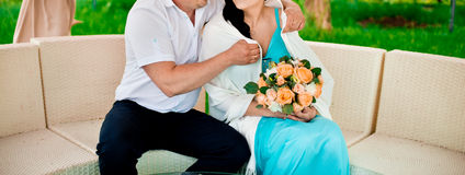 Couple with flowers Royalty Free Stock Photos