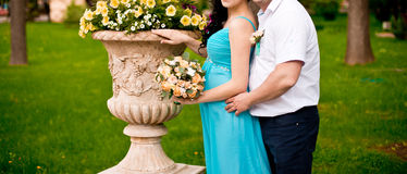 Couple with flowers Royalty Free Stock Image