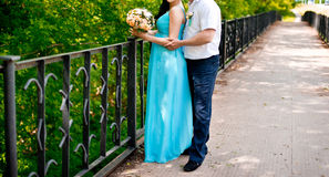 Couple with flowers Royalty Free Stock Photography