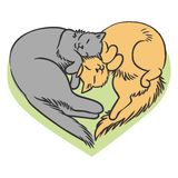 Couple of fluffy cats. Two cats lying in the shape of heart. Vector hand drawn illustration Stock Photos