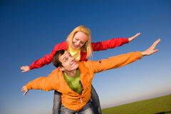 couple fly in sky Royalty Free Stock Image