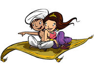 Couple on a flying carpet. Traveling Stock Image