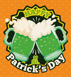 Couple of Foamy Beers Toasting for Patrick's Day Poster, Vector Illustration Royalty Free Stock Photo