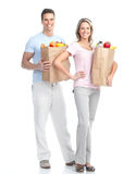 Couple  with food Royalty Free Stock Photo