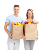 Couple  with food Royalty Free Stock Image