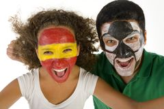 Couple football's fans. Royalty Free Stock Photo