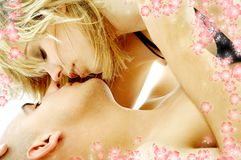 Couple foreplay with flowers #2 Royalty Free Stock Photography