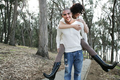 Couple in forest Stock Photo