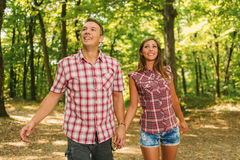 Couple In The Forest Stock Photography