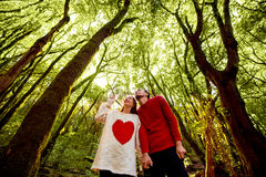 Couple in the forest Stock Images