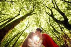 Couple in the forest Stock Photo