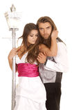 Couple formals by lamp post Stock Photography