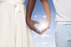 Couple Forming Heart Shaped Hands Together Royalty Free Stock Photography